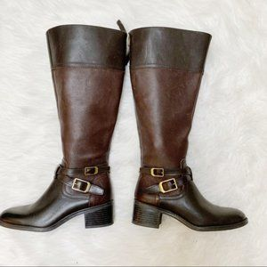 NEW Franco Sarto Dark Brown Buckle Riding Boots